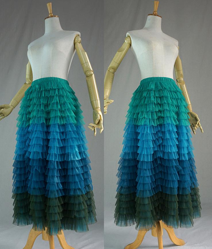 Green blue tulle skirt 1