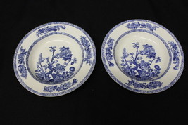 "Pair of 2 John Maddock & Sons INDIAN TREE Blue Royal Vitreous 9"" Rim Sou... - $59.99"