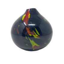 Retro Blown Art Glass Vase Black Yellow Red Murano Style 60s Color Abstract Mod - $39.95