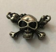 "Vintage Necklace Pendant Silver Skull & Crossbones 1"" W X 3/4"" H - $4.75"