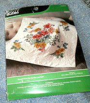 "Bucilla Flowers from the Garden Stamped Cross Stitch Lap Quilt 45"" x 45"" - $14.84"