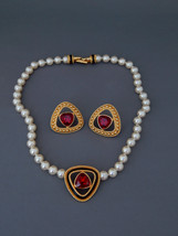 SWAROVSKI Necklace Earrings Faux Pearl Red Crystals Black Enamel, Swan Logo - $175.00