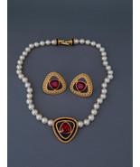 SWAROVSKI Necklace Earrings Faux Pearl Red Crystals Black Enamel, Swan Logo - $175.00