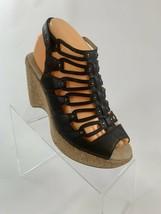 JBU by Jambu Women's Size 8 Black Lilian Comfort Cork Wedge Gladiator Sandals - $47.02