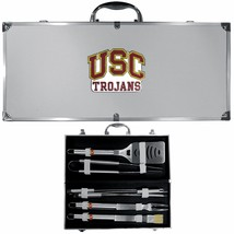 usc trojans 8 pc tailgater stainless steel bbq set with metal case - $126.34