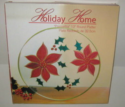 "Poinsettia Christmas Platter 13"" Round Blown Glass Hand Painted NIB 2 Av... - $16.29"