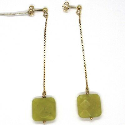 Drop Earrings Yellow Gold 18k, Chain Venetian, Jasper Green Square