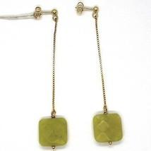 Drop Earrings Yellow Gold 18k, Chain Venetian, Jasper Green Square image 1