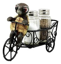 Ebros Slow Seasoned Delivery Turtle Riding Tricycle Cart Salt and Pepper... - $19.75