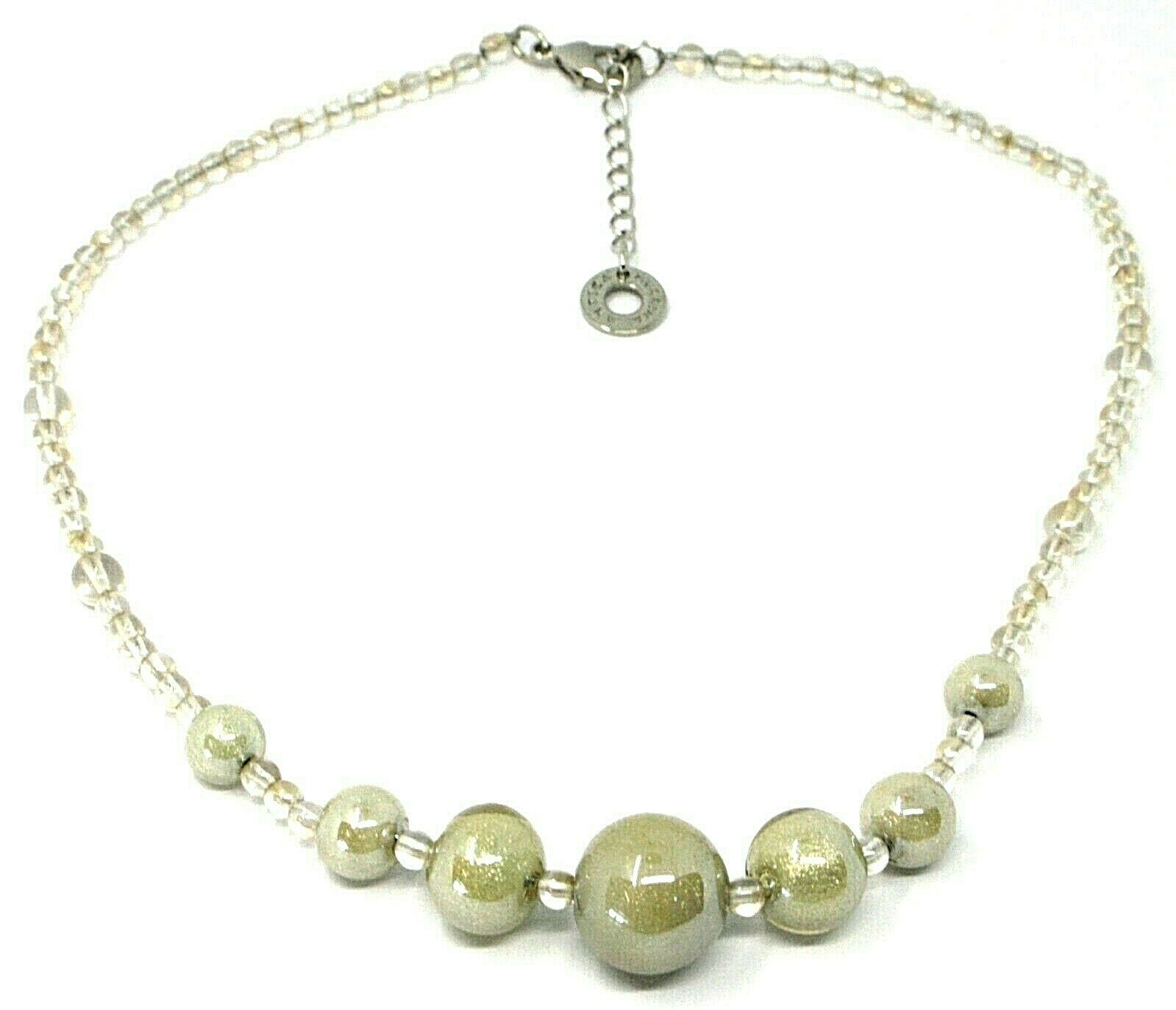 Necklace Antica Murrina Venezia, CO973A02, Spheres Gray Beige, 45 CM