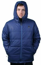Bench UK Mens Hollis Zip Up Blue Hooded Puffy Winter Jacket Coat NWT image 2
