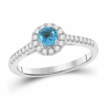 14kt White Gold Womens Round Blue Topaz Diamond Solitaire Ring 5/8 Cttw - £455.11 GBP