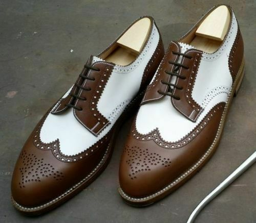 Handmade Men's Brown & White Wing Tip Brogues Dress/Formal Oxford Leather Shoes