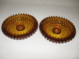 Indiana Glass Co Amber Diamond Point Qty 2 Candle Stick Holders 1965-1980 - $12.00