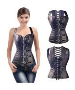 Women Leather Slim Boned Sexy Bodyshaper Black Bustier Corset Belly Shap... - $36.50