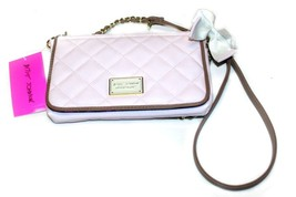 Betsey Johnson E/W Crossbody Quilted Purse, Blush/Tan with White Bow - $49.99