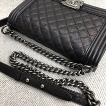 AUTHENTIC CHANEL LE BOY BLACK QUILTED CAVIAR LEATHER MEDIUM FLAP BAG RHW image 3