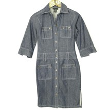 Express Womens Shirt Dress Size 5 6 Jean Denim Button Pockets - $24.36