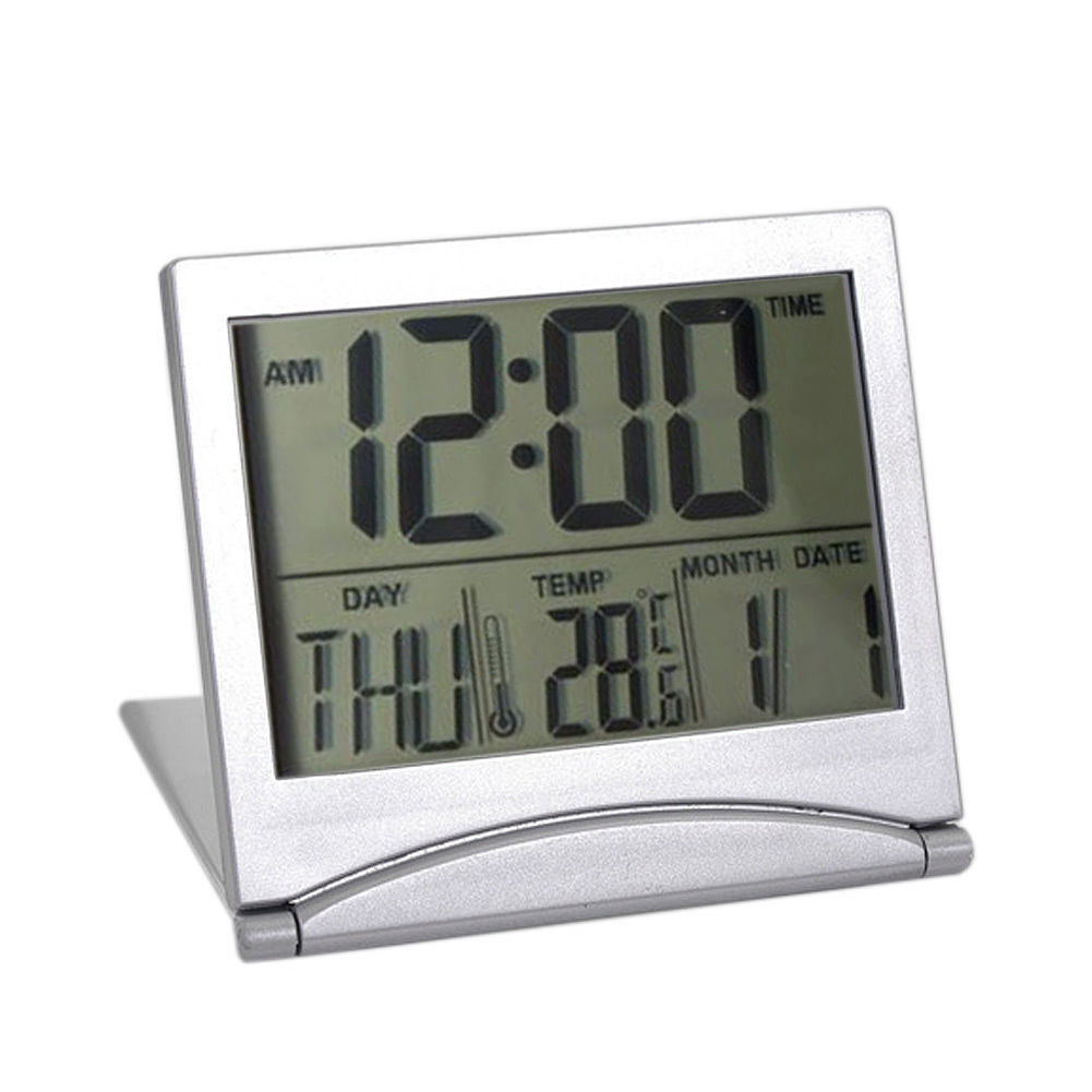 New digital lcd weather station folding desk temperature travel alarm clock fp8