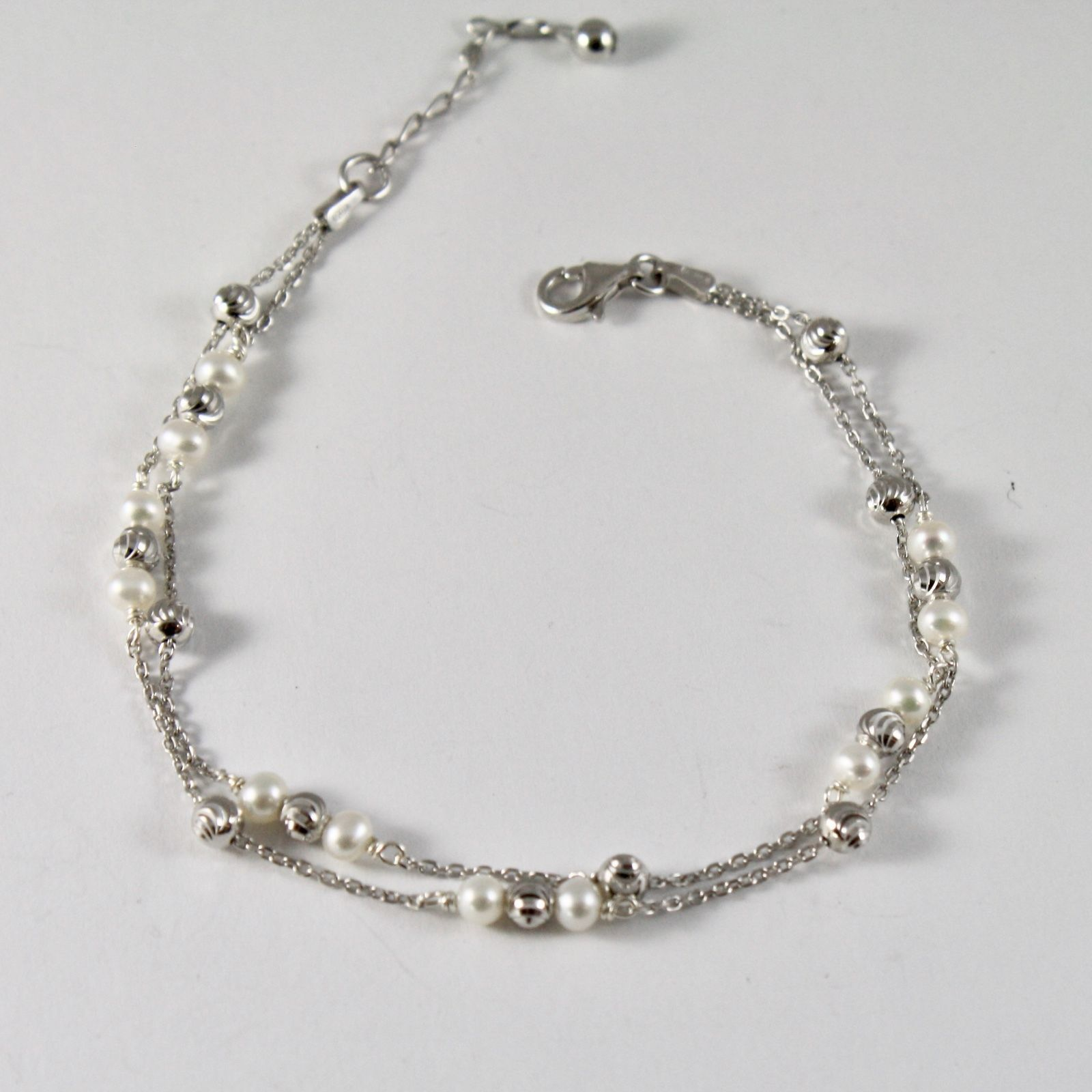 925 Silver Bracelet with Faceted Balls and white pearls freshwater