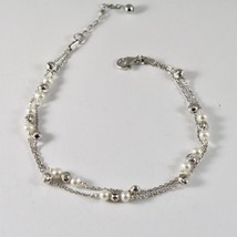 925 Silver Bracelet with Faceted Balls and white pearls freshwater image 1