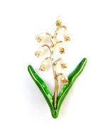 Lily of The Valley White Flower Pearl Gold Stem Leaves Elegant Brooch Pi... - $10.99