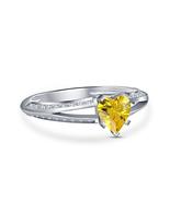 White Plated 925 Sterling Silver Yellow Sim Diamond Heart Love Engagemen... - $49.00