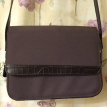 Brown Faux Reptile Liz Claiborne Purse Shoulder Bag Womens Handbag Pockets Slots - $21.54