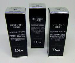 DIOR ROUGE DOUBLE ROUGE Matte Metal Colour Lipstick 0.12oz/3.5g Choose S... - $25.95