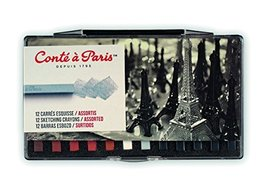 Conté à Paris Sketching Carre Crayons - Assorted Colours (Pack of 12) ,5... - $18.94
