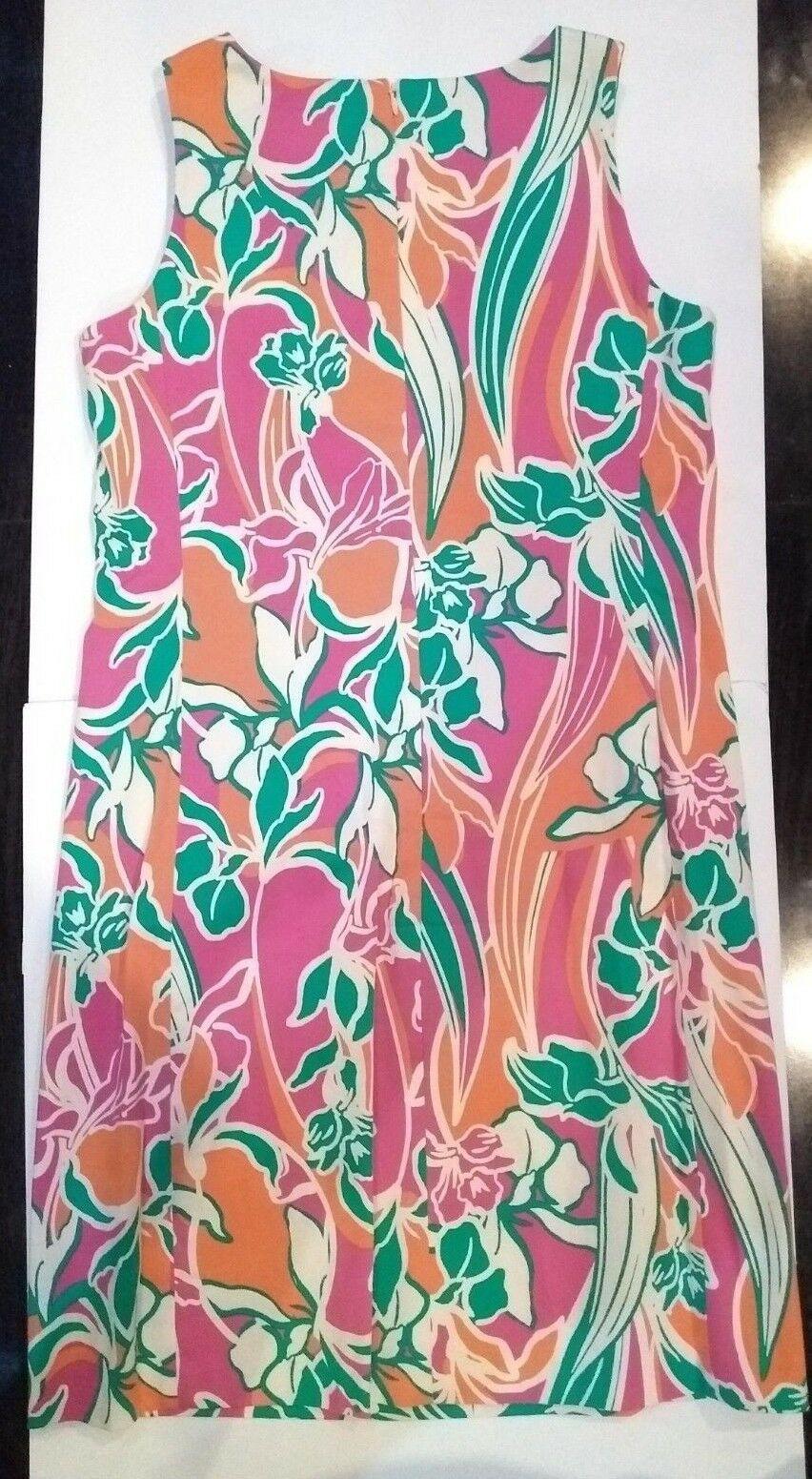 Anne Klein Pink Coral Sleeveless Keyhole Collar Pocket Dress Size 6 Retail $119