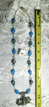 """Bee on Flower Pendant Lampwork and Milky Blue Glass Beaded Necklace 21""""  (#24) image 2"""