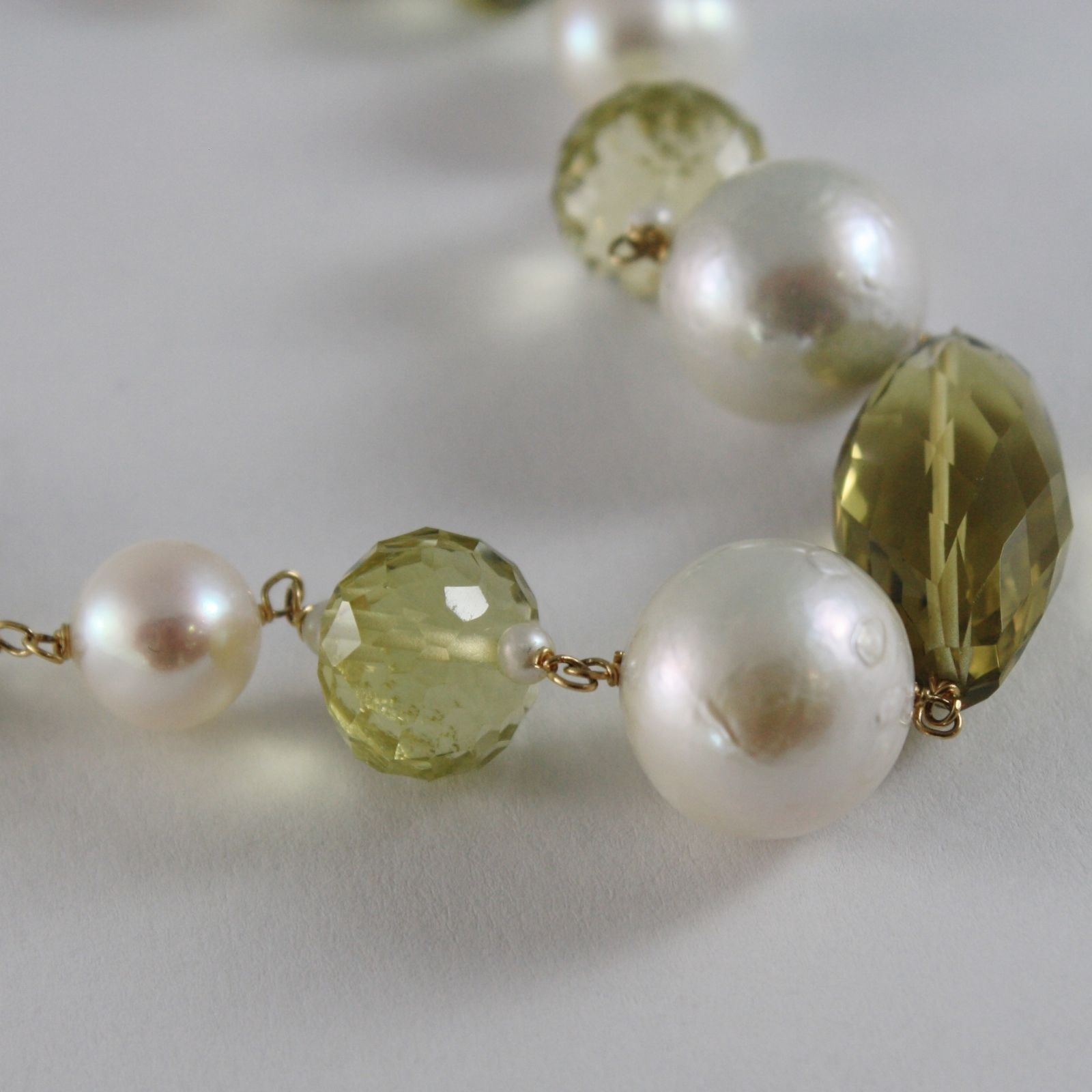 18K YELLOW GOLD BRACELET BIG WHITE PEARLS BROWN & LEMON QUARTZ MADE IN ITALY