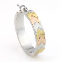 Chevron Design Tri-Color Silver, Gold & Rose Tone Hoop Earrings- United Elegance image 3