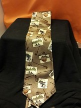 Hallmark Celebrations Fly Fishing Themed Silk Tie Wide Vintage Gold - $28.05