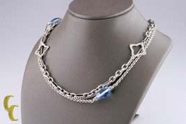 "David Yurman Sterling Silver Bijoux Blue Topaz Quatrefoil Chain Necklace 32"" - $1,924.56"