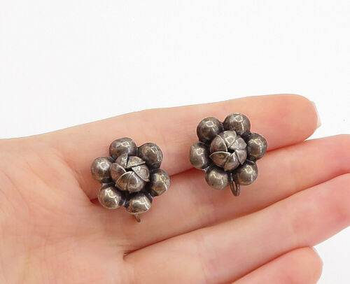 Primary image for 925 Sterling Silver - Vintage Dark Tone Flower Motif Non Pierce Earrings - E9168