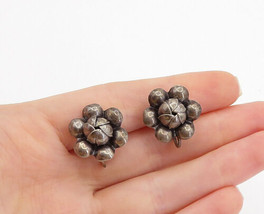 925 Sterling Silver - Vintage Dark Tone Flower Motif Non Pierce Earrings... - $28.06