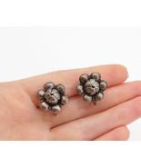 925 Sterling Silver - Vintage Dark Tone Flower Motif Non Pierce Earrings... - $28.06