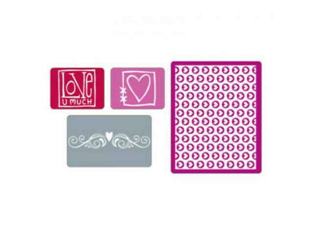 Sizzix Love Set Embossing Folders, 4 Pack #656506