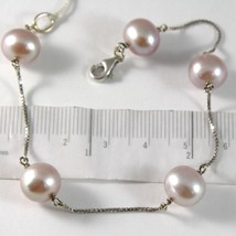 Armband Weißgold 750 18K Perlen Violet Lavendel Durchmesser 9-10 mm Kett... - $422.97