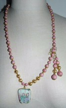 VTG Gold Tone Pink Rhodonite Asian Porcelain Pendant Necklace Earring Set - $99.00