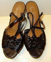 Franco Sarto The Artist's Collection Women's Sz 7.5 M Wedge Sandals Black - $10.25