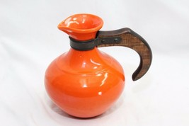 Gladding McBean Ceramic Pitcher Wooden Handle Orange - $34.79