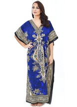 Gorgeous Blue Floral Kaftan, Bohemian Beach Cover-up Hippie Caftan, Free Size - $10.85