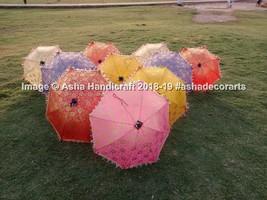 Indian Vintage Handmade Golden Flower Painted Umbrellas Cotton Umbrella ... - $53.06