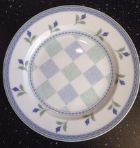 """Oneida Table Trends Gaiety Salad Plate 7 3/4"""" Green Blue Flowers & Bands Checks - $10.29"""