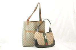 GUCCI GG Canvas Sherry Line 2Set Tote Shoulder Bag Red Green Auth rd102 - $150.00