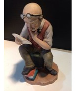 Vintage Signed Pucci Rare Figurine Man Reading Income Tax Form 3786 - $138.60