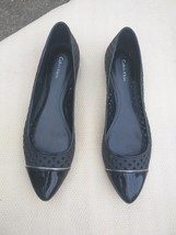 $99 Womens CALVIN KLEIN Elaine Black P. Leather pointed Toe Cutout Flats... - $22.76